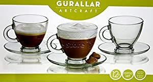 12 Pc Clear Base Tea Coffee Espresso Cups Set Cup Mug Glassware Dining Gift 180ml