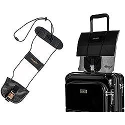 La Sangle à Bagages élastique Amoveda Travel Fixe des Sacs supplémentaires aux valises avec Trolley. Nouvelle Version Premium avec Boucle en Cuir et métal