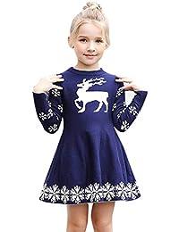 78fe9b08ce9 BaZhaHei Pull Robe Fille Noel Robe Manches Longues Tricoté Noël Sweater  Enfant Filles Hiver Flocon de Neige Renne…