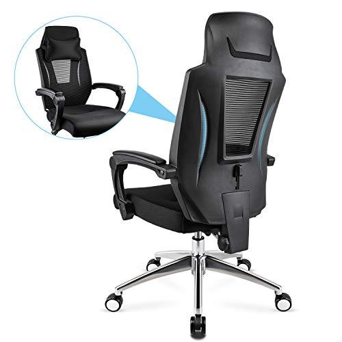 Mfavour sedia ufficio ergonomica,poltrona ufficio con ruote silenziosa,sedia da ufficio girevole con ampio poggiatesta,capacità di carico 150 kg