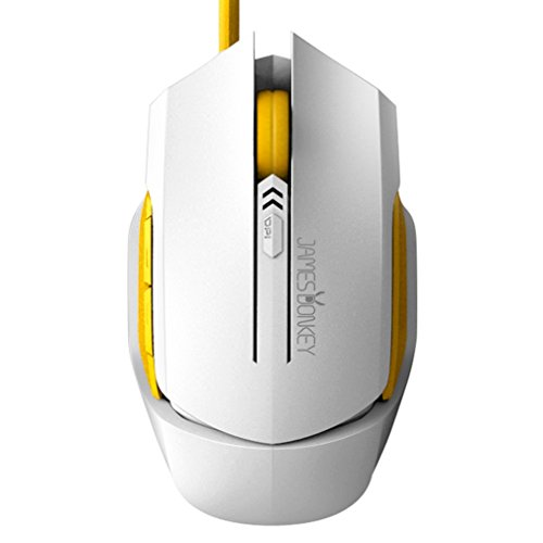 GranVela reg; 112 Gaming Mouse 2000 DPI Ergonomic Wired Mouse with Side Buttons LED for PC and Mac (White)