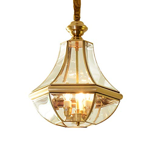 YangMi Leuchter- American Single Head kreative Glas Kupfer kronleuchter Flur Gang Balkon europäische kupferlampe (Color : Gold A, Size : 26x38cm) American Leuchter