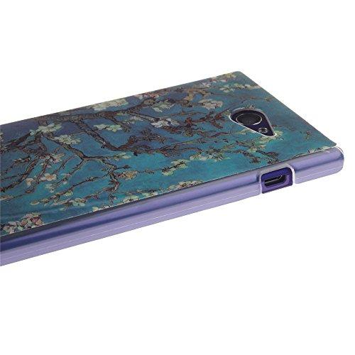 Sony Xperia M2 hülle MCHSHOP Ultra Slim Skin Gel TPU hülle weiche Silicone Silikon Schutzhülle Case für Sony Xperia M2 - 1 Kostenlose Stylus (Löwenzahn sich verlieben (Dandelions Fall in Love)) mandel blumen baum mit blauem hintergrund (almond flowers tre