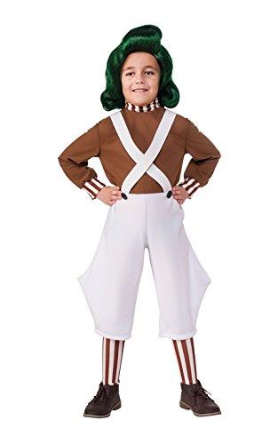 Oompa Loompa Childs Fancy Dress Book Day Factory Worker Boys Girls Kids (Girl Kostüme Wonka Willy)