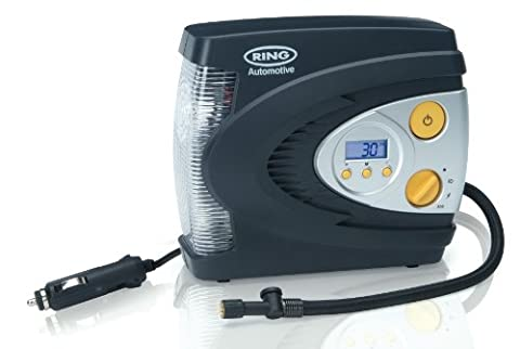 Ring RAC630 12V Automatic Digital Tyre Inflator with LED Light, Adaptor Set and Storage Case