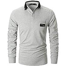 8922e693cd2e GHYUGR Poloshirts Herren Basic Langarm Baumwolle Polohemd Golf T-Shirt S-XXL