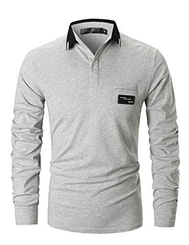 GHYUGR Poloshirts Herren Basic Langarm Baumwolle Polohemd Golf T-Shirt S-XXL (L, Grau 2)