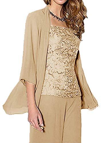 Pretygirl Damen 3 Stück Spitze Chiffon Kleid für die Brautmutter Hose Anzüge mit Jacke Outfit für Hochzeit(US 16 Plus, Champagner) -