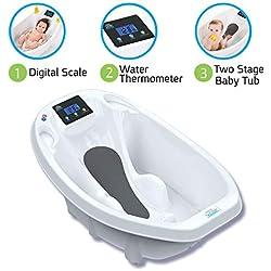 Aquascale Baignoire pour bébé, pour le bain de bébé avec balance numérique de bébé et thermomètre de bain.