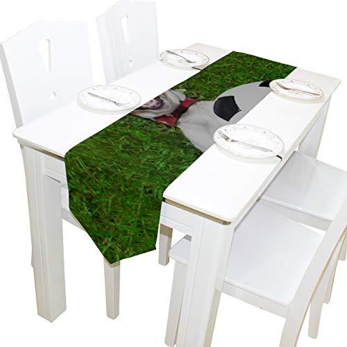 Yushg Puppy Play Soccer Ball Kommode Schal Tuch Abdeckung Tischläufer Tischdecke Tischset Küche Esszimmer Wohnzimmer Home Hochzeitsbankett Decor Indoor 13x90 Zoll