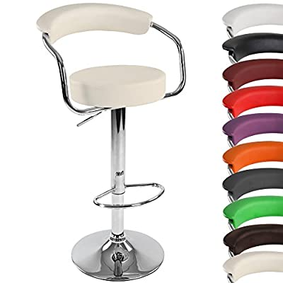 Miadomodo® LBHK09_1er One Faux Leather Bar Stool with Armrests DIFFERENT COLOURS