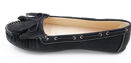 Damen Schuhe Mokassins Slipper Slip-On Flats (8443) Schwarz