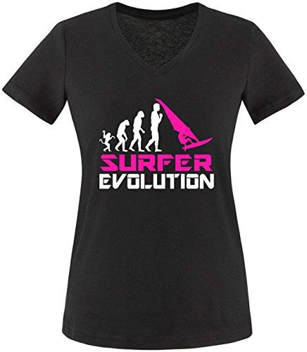 EZYshirt® Surfer Evolution Damen V-Neck T-Shirt Schwarz/Weiss/Pink