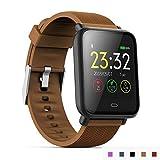 AXDNH Männer-Uhren-Sport-Positionierung Bluetooth-Herzfrequenzmonitor Pedometer Aufladen Clip-Ladegerät-Support-System Android 4,3 oder IOS 7,0 oder über Smart Armband,Brown