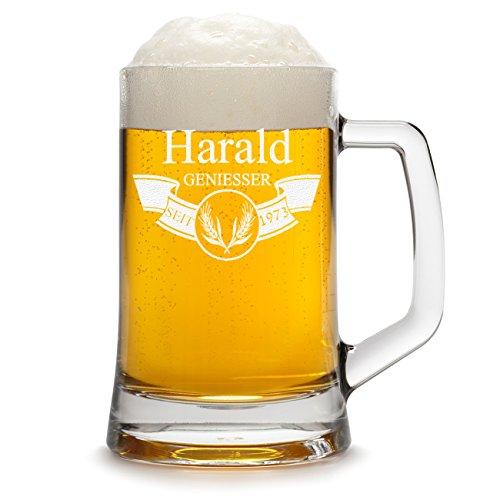 polar-effekt Bierkrug Personalisiert mit Gravur eines Namens und Jahreszahl - Bierseidel Geschenk zum Geburtstag - Motiv Banner mit Ähren 0,5l