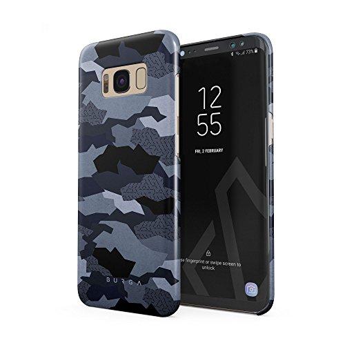 BURGA Hülle Kompatibel mit Samsung Galaxy S8 Handy Huelle Navy Blau Camo Camouflage Tarnung Muster Dünn, Robuste Rückschale aus Kunststoff Handyhülle Schutz Case Cover -