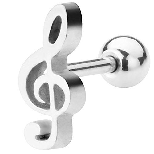 Piersando Tragus Helix Ohr Piercing Cartilage Knorpel Stab Stecker 316 L Chirurgenstahl Notenschlüssel Silber