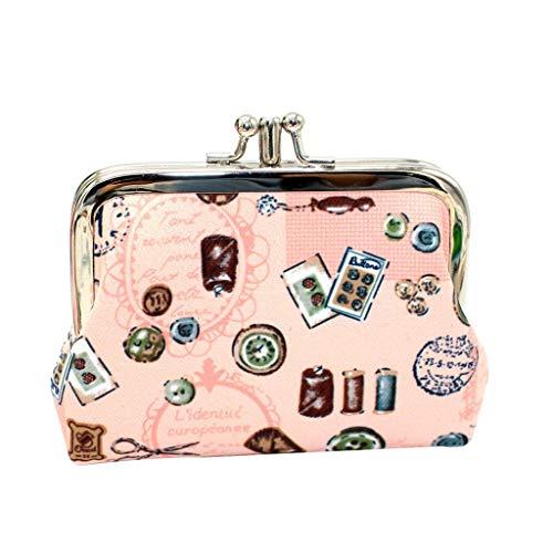 ODJOY-FAN Damen Geldbörse Kupplung Handtasche, Quadrat Doppelschicht Taste, Drucken Snacks Geldbörse Kartenhalter Handtasche Schlüsselhalter(Rosa,1 PC)