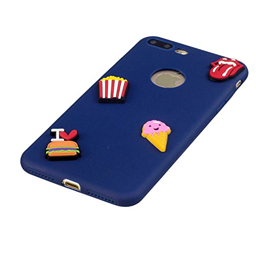 Cover iPhone 7 Plus, Voguecase Custodia Silicone Morbido Flessibile TPU Custodia Case Cover Protettivo Skin Caso Per Apple iPhone 7 Plus 5.5(Macchia-Anguria 06) Con Stilo Penna Caramella Silicone-Patate Fritte 01