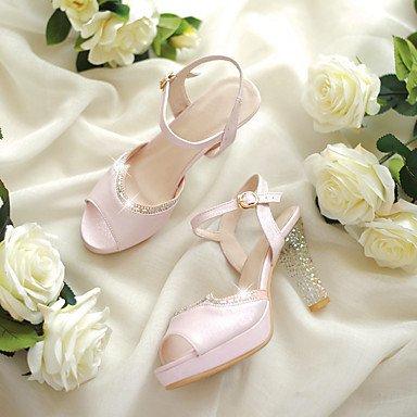 LvYuan Damen-Sandalen-Hochzeit Kleid Party & Festivität-PU-Kristallabsatz-Club-Schuhe-Rosa Weiß Pink