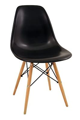 Charles Bentley High Quality Retro Designer Lounge Dining Chair - Black (Multiple Colours Available) - cheap UK light shop.