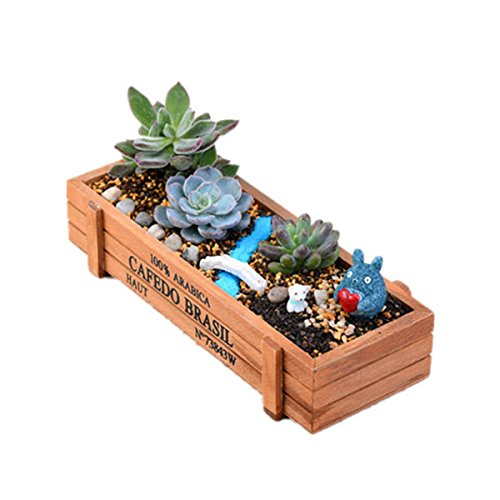 BESTOMZ Vintage Rechteck aus Holz Sukkulente Pflanze Bett Topf Box Blumengarten Pflanzer