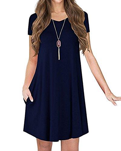 S/s T-shirt Kleid (VIISHOW Frauen-grundlegendes kurzes Hülsen-beiläufiges loses T-Shirt Kleid (Navy Blau S))