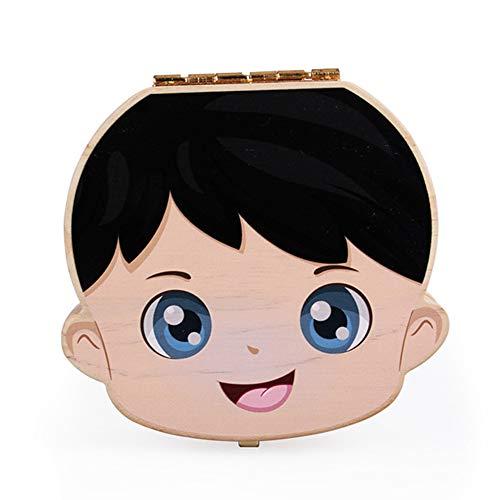 Doitsa 1x Boîte à Dents de Lait Enfant Mignon Conservation en Bois Souvenir pour Bébé Garçon Enfant, Version English