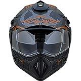 Vega Off Road Dual Visor Motocross Graphic Secret Full Face Helmet (Battle Green Black, M)