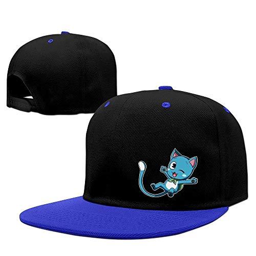 Youaini Anime Blue Cat Happy Fairy Tail Contrast Color Baseball Cap Royalblue -