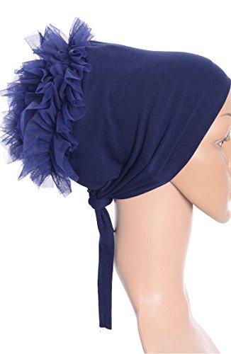Turban Binde Bonnet Rüschen Hijab Cap Islam Tessetür Chemomütze Baumwolle Beanie Mützen bei Haarausfall Behandlung (Dunkelblau)