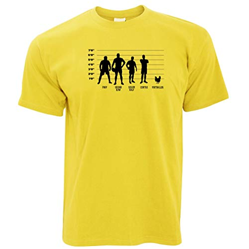 Joke Sport T-Shirt Rugby Vs Fußball Huhn Lineup Yellow Medium - 80 Tinte Yellow