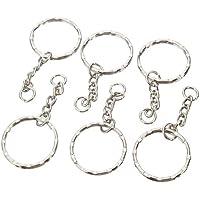osmanthusFrag 10Pcs Blanks Schlüsselanhänger Silber Ton Schlüsselanhänger Split Ringe mit 4 Gliederkette DIY Ornament