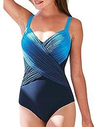 Dearlove Bauchweg Badeanzug Damen Sportlich Push Up Tankini Set Bauchweg  Farbverlauf Bademode mit Körbchen Swimsuit Große 13b5190353