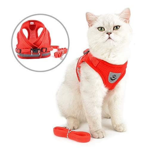 SELMAI Katzenleine mit Geschirr für Katzen Baby Reflektierend Weiches Mesh Atmungsaktiv Sicherheitsgeschirre für Hunde Kein Zug Gepolsterte Westengeschirr Kleine Hunde Welpen Chihuahua Rot XS -