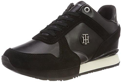 Tommy Hilfiger Damen CAMO METALLIC Wedge Sneaker, Schwarz (Black 990), 39 EU