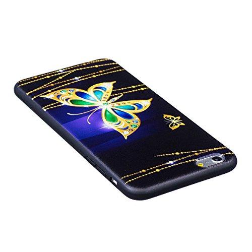 Silicone Custodia per iPhone 7/iPhone 8 (4.7), EUWLY Colorato 3D Modello Style Protettiva TPU Custodia Cassa per [iPhone 7/iPhone 8 (4.7)], Nero Protettiva Cover Case Ultra Sottile Morbida Silicone  Farfalla