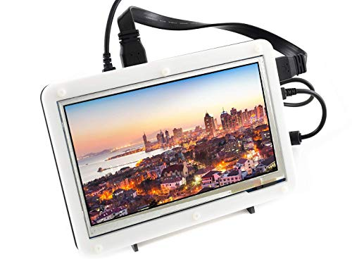 IBest Waveshare 7inch Capacitive Touch Display Screen LCD B with Bicolor Case HDMI Monitor for Raspberry Pi, BB Black, Banana Pi Support Raspbian/Ubuntu/Kali/Retropie/WIN10 IOT, Windows 10/8.1/8/7