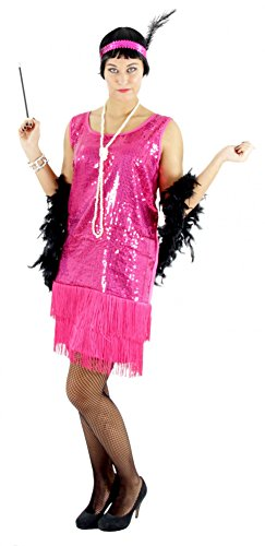 Foxxeo 40063 | 20er Jahre Damen Kleid Charleston Kostüm, pink, Größe:M