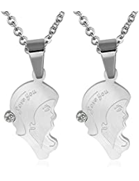 Daesar Conjunto de Joyería Collar Colgante Acero Mujer, Plata Amantes Face Colgante Collares