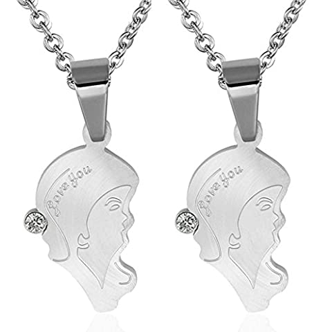 Daesar Hers & Hers Necklace Set Couples Stainless Steel Silver Lover's Face Pendant Necklace