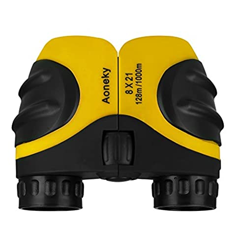 Aoneky Compact Mini Rubber 8 x 21 Kids Binoculars for Bird Watching, Best Christmas Gifts for Children, Recommended for Boys Age 3 to 11 Years Old, Yellow