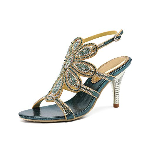 EARIAL& Women's Summer Leather Rhinestone Sandals Silver Gold Ankle Strap High Heels Sandals Women 8cm Sandalia Feminina Blue 9