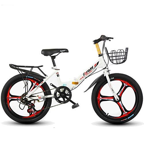 GRXXX Klapp Kinderfahrrad Mountainbike Geschwindigkeit 16/20 Zoll Grundschule Fahrrad,White-16 inch
