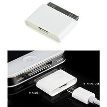 Adaptador de carga Micro USB a 30 pines hembra/macho adaptador de corriente para Apple iPhone 4S/iPad/iPod