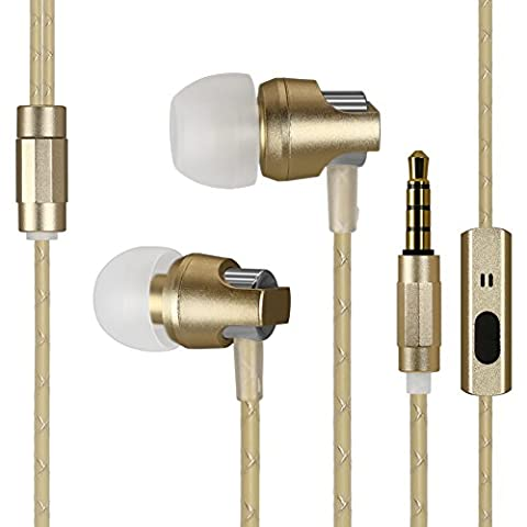 Kingyou In Ear Ohrhörer Kabelgebundene Headsets Bass Kopfhörer für Handys MP3-Player Tablets Sony iPhone 6 6S Samsung ipod ipad usw KM02(Gold)