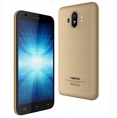 TEENO 4G Smartphone Libre 5.0 Pulgadas HD IPS 1GB RAM 8GB ROM Dual SIM Dual Cámara (K5016-Oro)