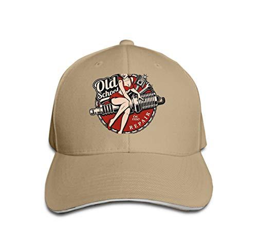 Unisex Baseball Cap Trucker Hat Adult Cowboy Hat Hip Hop Snapback Spark Plug pin up Girl Color Version Spark Plug pin up Girl Piston Wrench Vintag