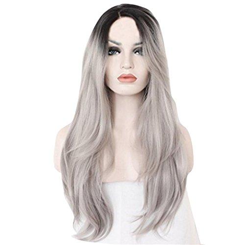 DRESS_start Damen Mode Lange Natürliche Gerade Silber Graue Perücken Lang Gelockt Welle Perücken Wie Echthaar (Länge: 70 Cm) Grau
