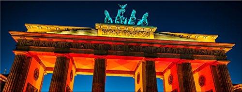artissimo, Glasbild, 80x30cm, AG3337A, Bandenburger Tor beleuchtet, Berlin, Bild aus Glas, Moderne Wanddekoration aus Glas, Wandbild Wohnzimmer modern